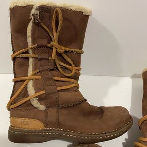 UGG CATALINA BROWN LEATHER SHEEPSKIN BOOTS US 5